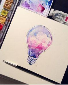 Watercolor lightbulb
