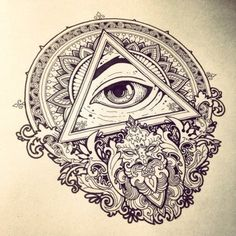 Fantastic Triangle Eye With Mandala Flower Tattoo Stencil Tattoo Drawings, Body Art Tattoos, Sleeve Tattoos, Cool Tattoos, Chest Tattoo Sketches, Tatoos, Future Tattoos, Tattoos For Guys, Images Graffiti