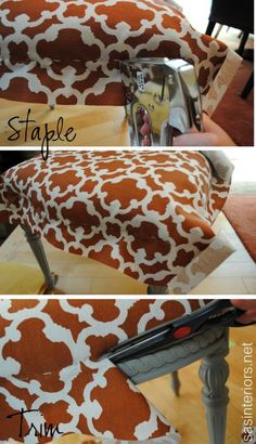 How to Simply Reupholster a Chair with a staple gun and hot glue-DIY