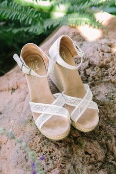 Wedges for bride - white lace TOM wedges for wedding {Elizabeth Burgi Photography}