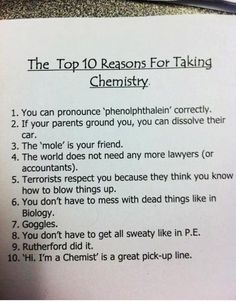 Funny pictures about Why you should take chemistry. Oh, and cool pics about Why you should take chemistry. Also, Why you should take chemistry photos. Teaching Chemistry, Chemistry Jokes, Science Memes, Biology Humor, Grammar Humor, Chemistry Classroom, Science Fun, Funny Science, Organic Chemistry Humor