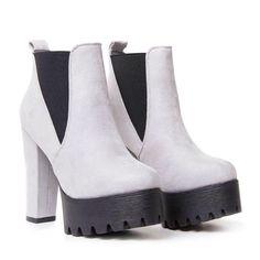 c19d0d163ea High Heel Platform Chelsea Boots in Light Grey Suede – KOI footwear