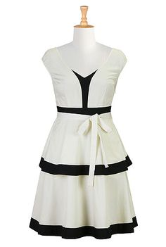 #eShakti Tiered colorblock poplin dress available in plus size --  This dress is adorable!!!