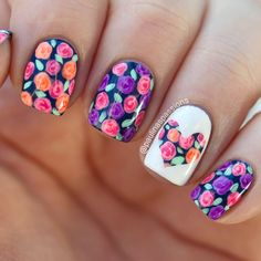 Floral and hearts mani