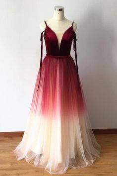 Gradient Red Velvet And Tulle Stylish Formal Dress, Charming Party Gowns, Prom Dress 2019 on Luulla V Neck Prom Dresses, Event Dresses, Homecoming Dresses, Wedding Dresses, Party Gowns, Party Dress, Cosplay, Formal Gowns, Dress Formal