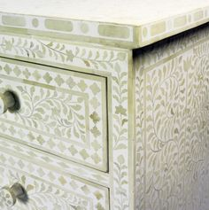 White Bone Inlay Chest of Drawers (3)