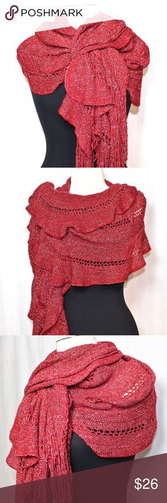 "NWT★FINAL REDUCTION★1 Left—Red Lurex RuchedMuffler NWT. Nine West Red & Silver Pointelle Ruched Ruffled Fringe Muffler/Scarf. ★FINAL REDUCTION★ Pristine condition.  Vibrant, cozy & oh-so comfy! Wrap yourself in layers of ruffles & shimmer. Pointelle weave with sparkling silver thread throughout. Perfect transitional scarf!  ☀NOTE: $10 & UNDER & ""FINAL REDUCTION"" items ARE FIRM ☀  ★Raising money for medical bills.  Please refrain from low ball offers! ★  ❤THANKS & POSH ON! ❤ Nine West…"