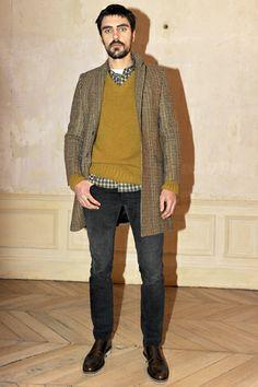 Ami Mustard Colour Knit Sweater Check Shirt