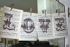 Nice display - print large letters over downloadable sheet music - JOY would be nice at Christmas