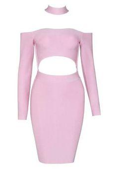 Amelia Pink Long Sleeve Bandage Dress