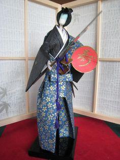 Japanese paper doll KurodaBushi by Japanesepaperdoll on Etsy, $50.00