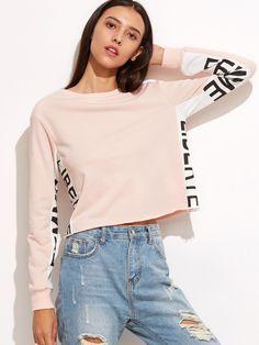 Pink Contrast Letter Print Panel Crop Sweatshirt fc8f9a13848