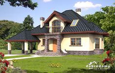 Porodična kuća sa potkrovljem i otvorenom garažom House Front Design, Roof Design, Cool House Designs, Exterior Design, Mexican Style Homes, Modern Bungalow House, Architectural House Plans, Dream Mansion, House On A Hill