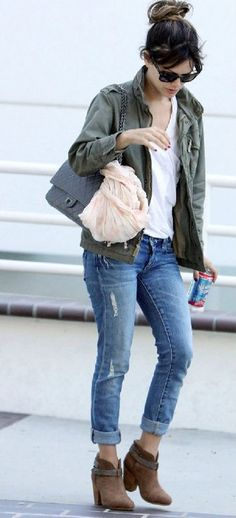 Fall outfit ideas. Military jacket. White tee. Nude scarf. Cuff jeans. Cognac suede ankle boots. Rachel Bilson in the Harrow Boot