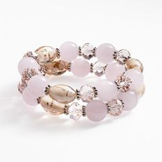 Croft and Barrow Silver Tone Glass Bead Stretch Bracelet Set
