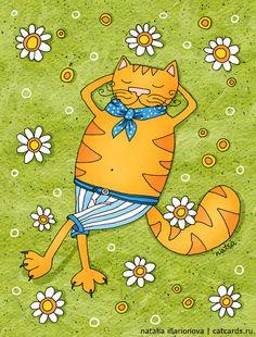 Cats by Natalia Illarionova, via Behance Crazy Cat Lady, Crazy Cats, Kinds Of Cats, Dog Poster, All About Cats, Cat Colors, Cat Drawing, Cat Art, Cartoon Art