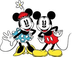 vintage+mickey+and+minnie+mouse+clip+art | Stampa disegno di Minnie e Topolino Classici a colori