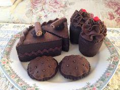 Double Chocolate Tea Party Felt Dessert Set Eco Friendly READY TO SHIP. via Etsy.