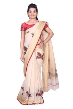 Add your wardrobe this classic saree.This saree is beautifullyembroidered with kalamkari motifs which lends it a vibrant look. Code:1187 Price:3350 ( bulk buyers / wholesale / boutiques / Retail shops for trade inquiries please contact our whatsapp no 8801302000)