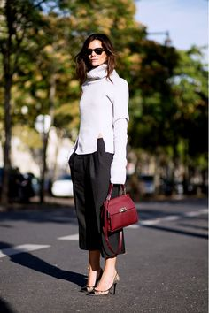 Slouchy turtleneck with gaucho pants for an unstudied vibe.