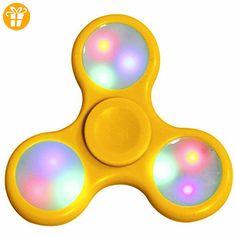 LED Lichter Spinner Tri-Spinner Fidget Spielzeug Super Hand Spinner Keramik Lager Stress Angst Umschaltbare Licht Modi Reliever für Kinder und Erwachsene - Fidget spinner (*Partner-Link)