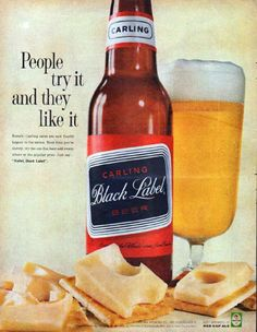 "Description: 1961 CARLING BLACK LABEL BEER vintage magazine advertisement ""People try it"" -- People try it and they like it ... Just say ... ""Mabel, Black Label"". ... Also brewers of Red Cap Ale -- Size: The dimensions of the full-page advertisement are approximately 10.5 inches x 13.5 inches (26.75 cm x 34.25 cm). Condition: This original vintage full-page advertisement is in Excellent Condition unless otherwise noted."