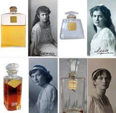 IMPERIAL RUSSIAN PERFUME~ The Tsar's daughters, known by the acronym OTMA, used Coty brand perfume which was produced in 1915. Olga used La Rose perfume, Tatiana used Jasmine de Corse, Maria used Lilac, and Anastasia used Violette.