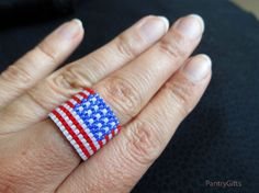Patriotic flag blue flat band ring - seed bead beadwork ring  - patriotic flag beadwork jewelry