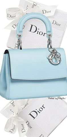 Dior ~ Leather Satchel, Baby Blue