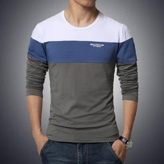autumn and winter Hitz solid color stitching round neck long-sleeved sleeve Men's T-Shirt 2016 Free shipping - dark gray / M - Houzz of Threadz - 1