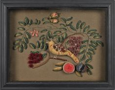 """Woolwork diorama of a bird, 19th c., perched on a branch, 13 1/2"""" x 18"""""""