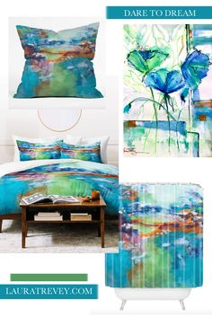 Shop the coordinating Home Decor, Bedding and Bath in the soothing blue and green watercolor design.