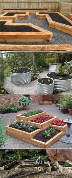 Wish I had someone to come design something like this for me and get me started. Raised Bed Garden Ideas - liking the first ideaw