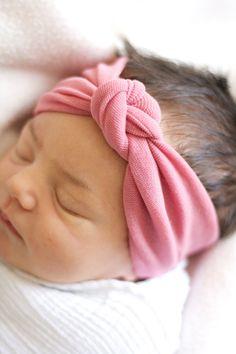 Burnt Pink Knot Headband for Baby - Infant - Newborn Girl