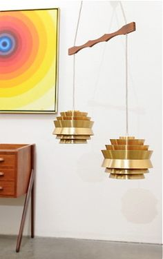 SO AWESOME! 1960s Space Age Danish Modern Teak & Metal UFO Hanging Lamp Fixture Mid Century