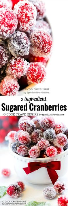 With just TWO ingredients, Sugared Cranberries are easy to make, require no baking and are the perfect way to make any dessert or cookie plate look gorgeous! Christmas Tea, Christmas Cooking, Christmas Goodies, Christmas Candy, Christmas Desserts, Christmas Breakfast, Christmas Decorations, Sugared Cranberries, 2 Ingredients