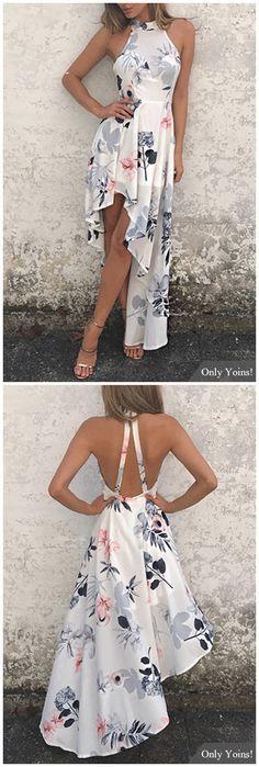 White Sexy Random Floral Print Irregular Hem Dress - My Brand New Outfit Pretty Dresses, Sexy Dresses, Beautiful Dresses, Short Dresses, Formal Dresses, White Maxi Dresses, Summer Outfits, Cute Outfits, Summer Dresses