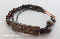 Handmade Bracelet / PattiMakes Ceramic Bar /Tuscan by PattiMakes, $34.00