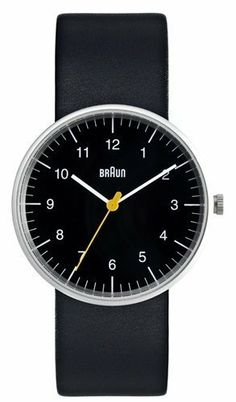 Braun Men's Analog Watch Black Face, Black Leather Band 38mm Braun. $160.00. Stainless Steel case 38mm. Black Leather Bangle. Analogue mens wrist watch