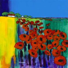 Summer Poppies Format: Paper Giclee print on Breathing Colour Elegance Velvet Paper Print size : 40 x 40 cm Mounted size: 58 x Artist Biography, Leaf Flowers, Flowering Trees, Source Of Inspiration, Artsy Fartsy, Landscape Paintings, Giclee Print, Poppies, Glass Art