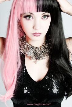 pink & black split hair colors