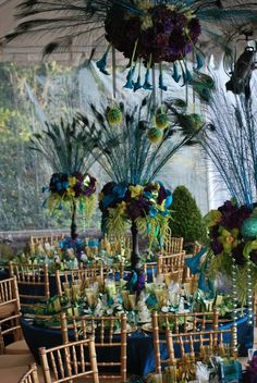 peacock table decorations <3