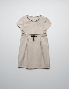DRESS WITH FAUX LEATHER BOW - Dresses - Girl (2-14 years) - Kids - ZARA