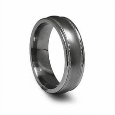 Edward Mirell Men's Milgrain Wedding Band in Titanium Titanium Metal, Titanium Jewelry, Titanium Rings, Contemporary Jewellery, Modern Jewelry, Metal Jewelry, Size 10 Rings, Ring Designs, Fashion Rings