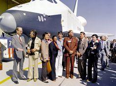Crew of the Starship Enterprise next to NASA's Enterprise in 1976