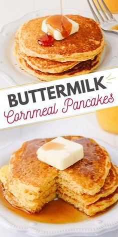 These easy cornmeal pancakes made with buttermilk and cooked in bacon grease are a unique spin on your traditional pancake recipe. Johnny Cakes are a delicious way to enjoy the great flavors of cornbread or breakfast! #CornmealPancakes #JohnnyCakes #Pancakes Cornmeal Pancakes, Freeze Pancakes, How To Cook Pancakes, Brunch Recipes, Easy Recipes, Breakfast Recipes, Easy Meals, Johnny Cakes Recipe, Pancakes From Scratch