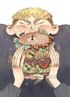 Flies on my burger.