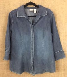 CHICOS 3 (XL) Denim Shirt Top, V-Neck, Long-Sleeve, Hidden Button Front #Chicos #ButtonDownShirt #Casual