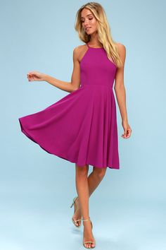 Lulus Exclusive! Everyone will want to catch a glimpse of you wearing the Lulus Irresistible Charm Magenta Midi Dress! Stretchy, sleek knit dazzles across adjustable spaghetti straps, a high, round neckline, and a princess-seamed bodice. A high waist tops an A-line skirt. Free shipping and returns!