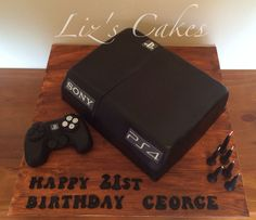 PS4 console cake with fondant controller